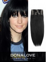 Rabenschwarz remy clip in hair extensions SD002