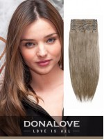 Mittlere Golden Braun indisch remy clip in hair extensions SD011