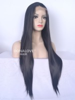 "4"" #1-Jet Black Waist-length Straight Synthetic Lace Wig-SNY015"