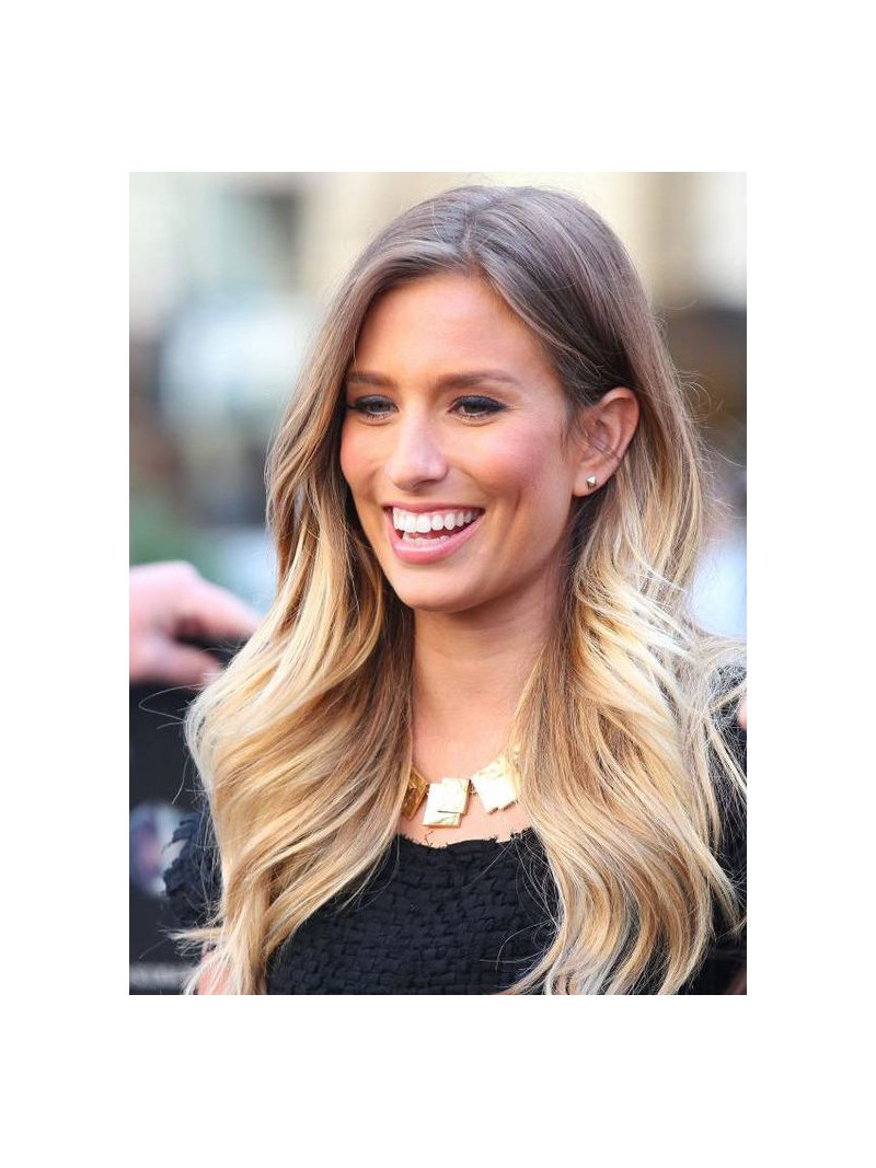 Braun ombre blond sexy lang lace front echthaar per cke for Ombre blond braun