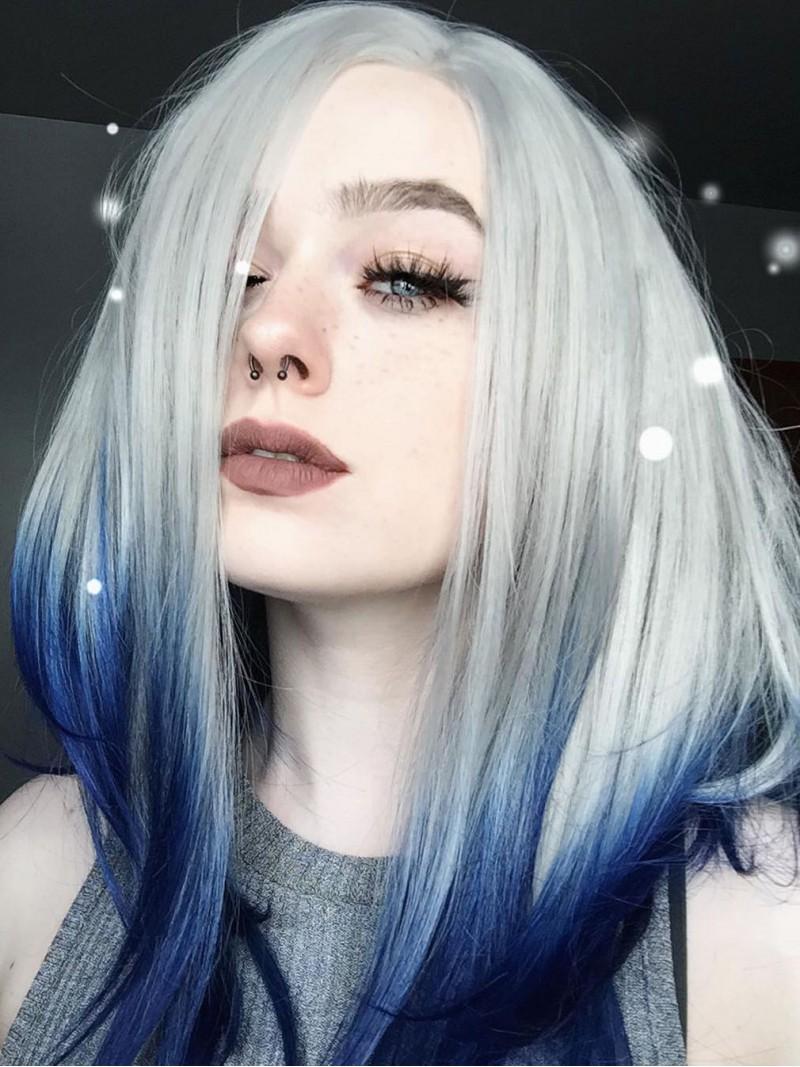 Gerade Silber nach Blau Synthetische Lace Front Perücke