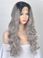 Schwarz nach Grau Ombre Wellig Synthetische Lace Front Perücke-SNY036