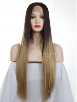 Schwarz Ombre Blond Lange Synthetische Lace Front Perücke-SNY077