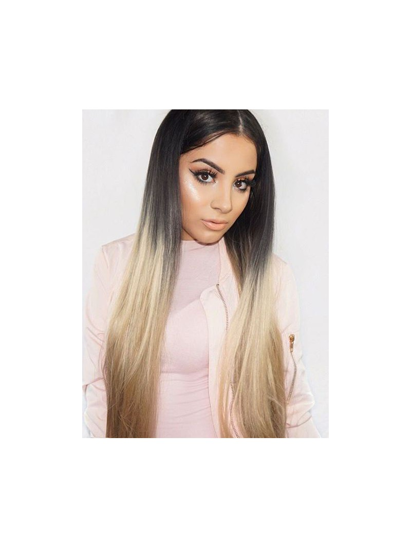 Schwarz Ombre Blond Lange Synthetische Lace Front Perucke Sny077