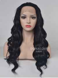 Schwarz Lange Wellig Synthetische Lace Front Perücke SNY078