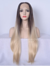 Dunkelbraun Ombre Blond Lang Synthetische Lace Front Perücke SNY094