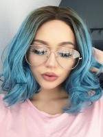 Krickentend Blau Wellig Bob Lace Front Synthetische Perücke SNY098