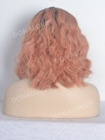 Pfirsich Schulter Länge Wellig Bob Lace Front synthetische Perücke SNY099