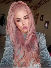 Pfirsich Rosa Lange Wellig Synthetische Lace Front Perücke-SNY102