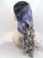 Schwarz Ombré Grau Mermaid Wellig Lace Front synthetische Perücke SNY105