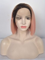 Kylie Jenner Inspirierte Rosa kurz Bob Synthetic Lace Front Wig SNY113