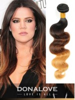 Drei Farben Ombre indisch remy clip in hair extensions OD003