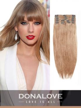 Hell Aschbraun indisch remy clip in hair extensions SD013