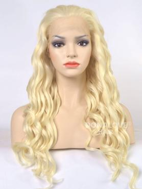 Hellblond Hüftlänge Wellig Synthetische Lace Front Perücke-SNY002