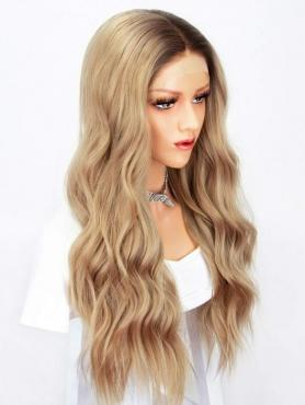 Blond Lange Wellige Synthetische Lace Front Perücke-SNY137