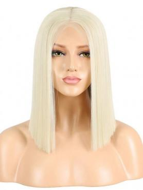 Platinblonde Gerade Synthetische Lace Front Perücke SNY166