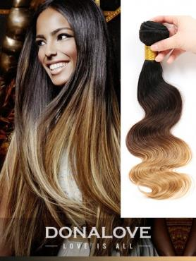 Zwei Farben Ombre indisch remy clip in hair extensions OD007