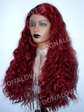 Rote Lange Wellige Synthetische Lace Front Perücke-SNY151
