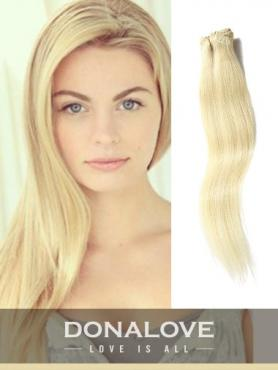 Blaß Goldenblond indisch remy clip in hair extensions SD015