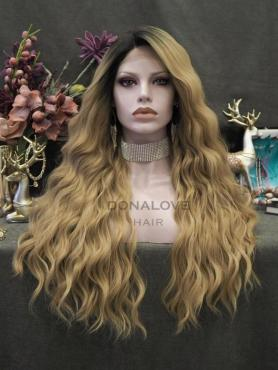 Blonde Ombre Lange Wellige Synthetische Lace Front Perücke SNY332